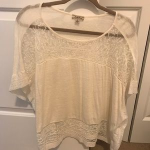 Lucky brand ivory cotton tee with sheer details